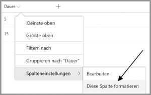 Spaltenformatierung in SharePoint